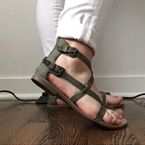 Olive green summer sandals. Never worn.